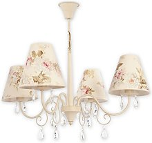 Jeffrey 4-Light Shaded Chandelier in , Cream Lily