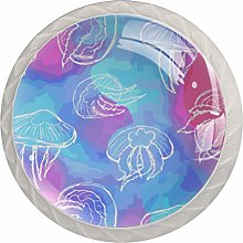 Jellyfish with White Lines 4 Pack Round ABS Drawer