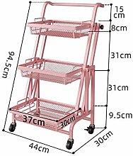 JenLn 3-Tier Mesh Wire Rolling Cart Multifunction