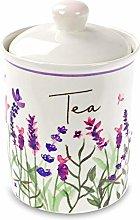 Jennifer Rose Lavender Ceramic Tea Canister Caddy
