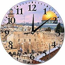 Jerusalem Israel Wall Clock Silent Non Ticking