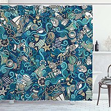 JessFash Abstract Shower Curtain, Nautical