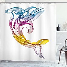 JessFash Sea Animals Shower Curtain, Dolphin With