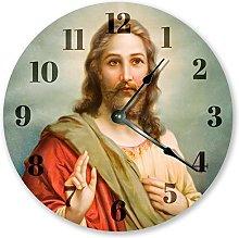 Jesus Christ Paint Art Wooden Wall Clock Silent