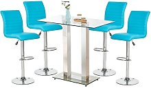 Jet Glass Bar Table With 4 Turquoise Leather