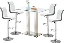 Jet Glass Bar Table With 4 White And Grey Ritz