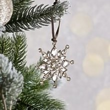 Jewelled Snowflake Christmas Decoration , Silver,