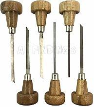 Jewellers Tools 6pcs Gravers with Wooden Handles :