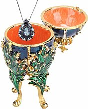 Jewelry Box, Hand Painted Coral Vines Enameled
