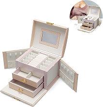 Jewelry box, handmade faux leather jewelry