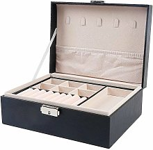 Jewelry Box Organizer, 2 Layer PU Leather Storage