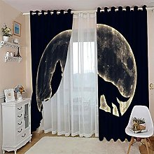 JFAFJ 1 Pair Blackout Curtains Soft Animals & Wolf