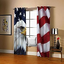 JFAFJ 1 Pair Blackout Curtains Soft Eagle & Flag