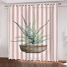 JFAFJ 1 Pair Blackout Curtains Soft Pink & green