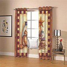 JFAFJ 1 Pair Blackout Curtains Soft Retro & bear