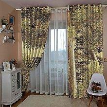 JFAFJ 1 Pair Blackout Curtains Soft Yellow & Pine