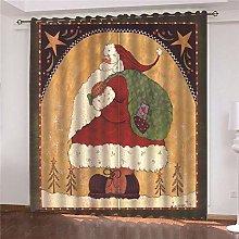 JFAFJ Blackout 3D window curtains Retro & Santa