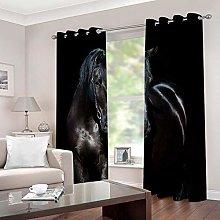 JFAFJ Curtains Black&horse Eyelet Kids Curtain