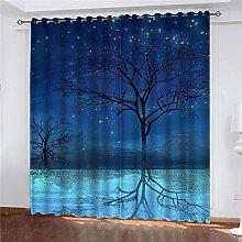 JFAFJ Curtains Blue & Big Tree Eyelet Kids Curtain