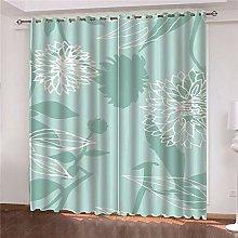 JFAFJ Curtains Blue&Flowers Eyelet Kids Curtain