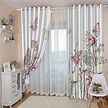 JFAFJ Curtains Flowers & Butterflies Eyelet Kids