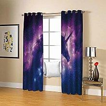 JFAFJ Curtains Purple & Unicorn Eyelet Kids