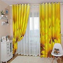 JFAFJ Curtains Yellow&Sunflower Eyelet Kids