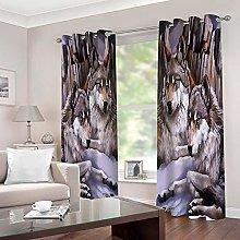 JFAFJ CurtainsAnimals & Wolf Eyelet Kids Curtain