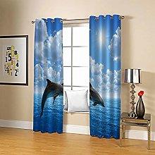 JFAFJ CurtainsBlue & Dolphin Eyelet Kids Curtain