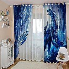 JFAFJ CurtainsBlue & Ice Dragon Eyelet Kids