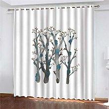 JFAFJ CurtainsColor & Big Tree Eyelet Kids Curtain