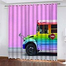 JFAFJ CurtainsColorful&Car Eyelet Kids Curtain