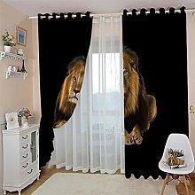 JFAFJ CurtainsYellow&Lion Eyelet Kids Curtain