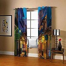 JFAFJ Thermal Blackout Curtains Bustling & Street