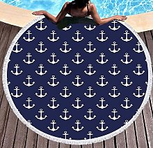 JgZATOA Blue White Pattern Beach Towel Large