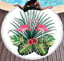 JgZATOA Flamingo Green Leaf Beach Towel Large