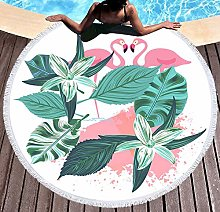 JgZATOA Green Leaf Flamingo Beach Towel Large
