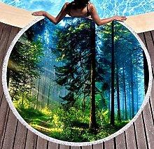 JgZATOA Green Light Forest Beach Towel Large