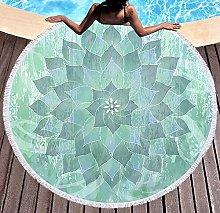 JgZATOA Light Green Wreath Beach Towel Large