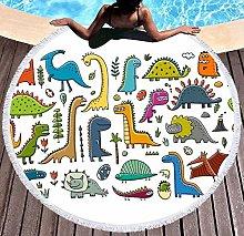 JgZATOA Yellow-Green Dinosaur Beach Towel Large