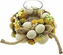 JHD Easter Egg Wood Chips Flower Hemp Rope Wreath