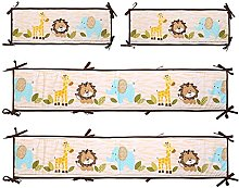 JHDS Baby Cot Bed Bumpers Cotton, 4 Pcs