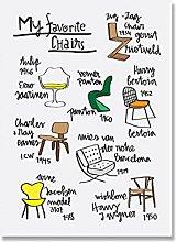 Jhmjqx Favorite Cartoon Chairs Poster Print Women