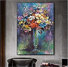 Jhmjqx Flowers Minimalist Oil Painting on Canvas