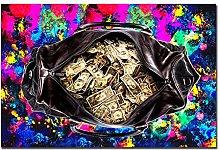 Jhmjqx Modern Money Style Red Purple Hundred Money