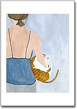 Jhmjqx Nordic Animal Poster girl Canvas Painting
