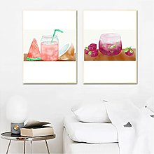 Jhmjqx print Watercolor Fruit Juice Wall Picture