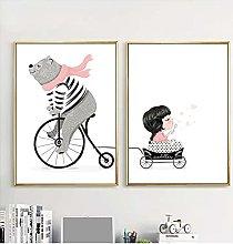 Jhmjqx Wall Art Print Bear Travel With Little Girl
