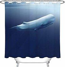 JHTRSJYTJ Blue ocean swimming sperm whale Shower