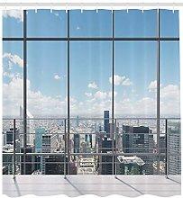 JHTRSJYTJ Cityscape window effect Shower curtain